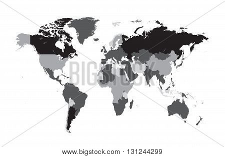 world map flat 3 colors black and gray