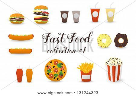 Fast Food Collection. Burger Hot Dog Coffee Tea Milk Shake Pizza Donut French Fries Popcorn Box. Vector Icons.