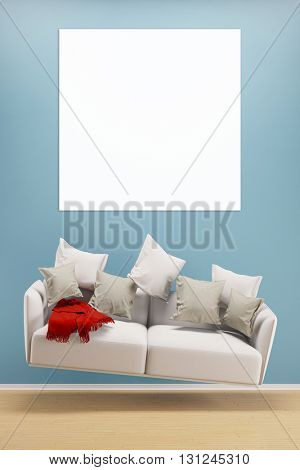 Square canvas on wall over hoovering sofa in a living room (3D Rendering)