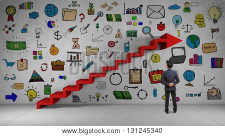 Business man planning his success with many icons on a wall (3D Rendering)