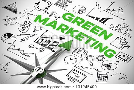 Arrow of a compass pointing to Green Marketing icons (3D Rendering)