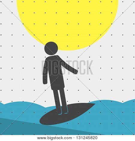 Colorful sports poster-style minimalism flat for commercial websites. The athlete is riding the surf Board. Vector illustration