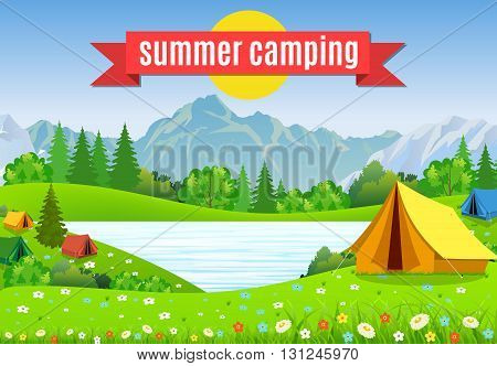 tourist tent and green blossom meadow, mountains on a cloudy sky. Summer camping. Natural vector landscape. vector illustration in flat design. Outdoor activities. Tent and fire camp