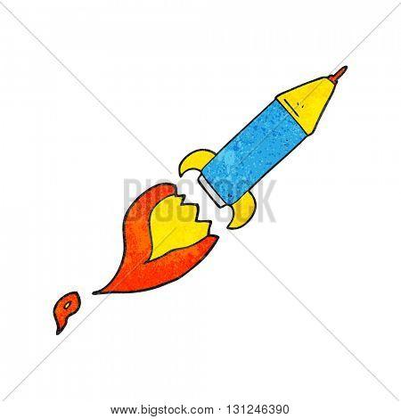 freehand textured cartoon rocket