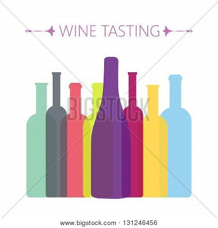 Wine tasting card with colored bottles over a white background. Digital vector image.