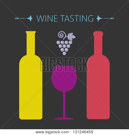Wine tasting card two yellow and red bottles over a silver background with grape sign and a purple glass. Digital vector image.