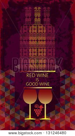Red wine tasting and love card two glasses with grape sign and bottles over a colored background with water color. Digital vector image.