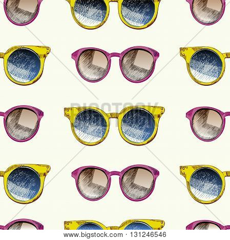 Vector seamless pattern of sunglaces. Trendy hipster sunglases yellow and rose round glasses wifier. Summer protection accessory.