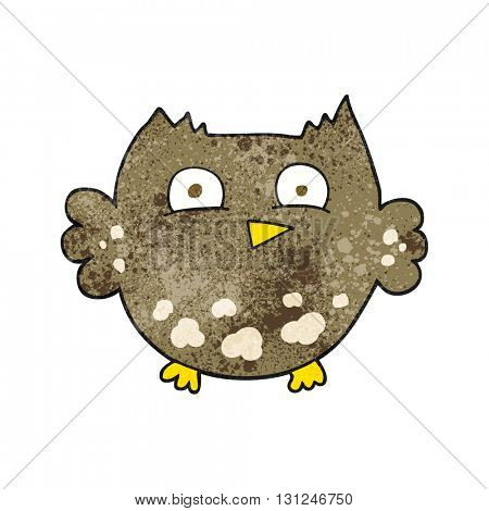 freehand textured cartoon little owl
