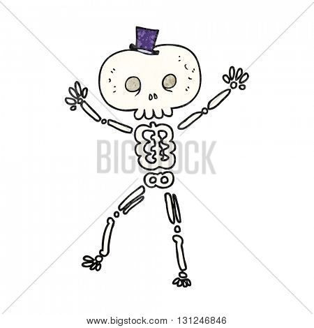 freehand textured cartoon dancing skeleton