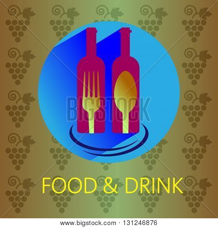 Food and drink with red wine card two bottles with fork and spoon signs over a background with grapes. Digital vector image.