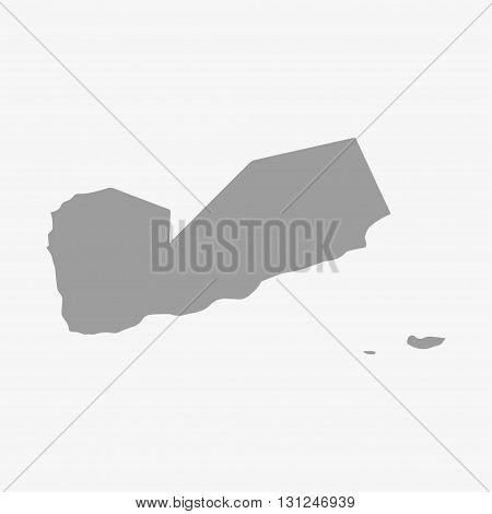 Yemen map in gray on a white background