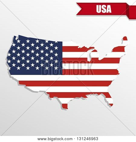 USA map with USA flag inside and ribbon