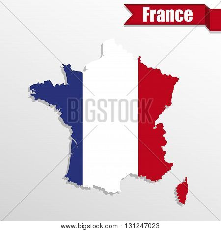 France map with France flag inside and ribbon