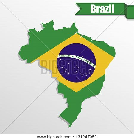 Brazil map with Brazil flag inside and ribbon