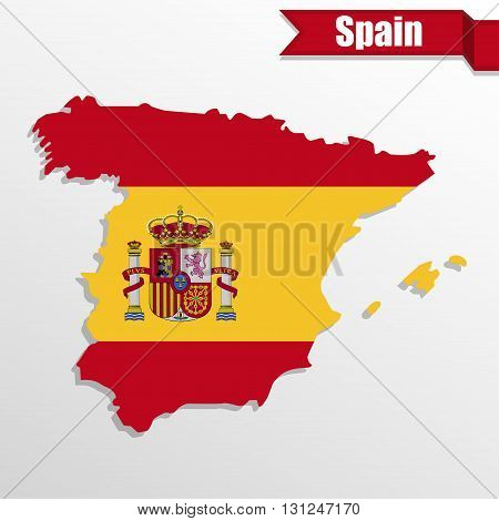 Spain map with Spain flag inside and ribbon