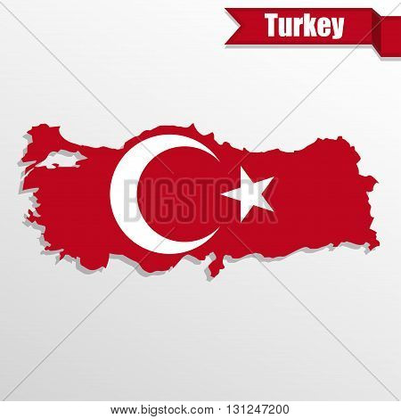 Turkey map with flag inside and ribbon