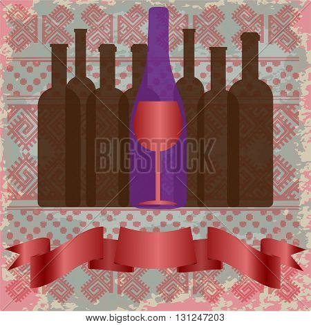 Wine tasting card bottles and a red glass over a background with pattern. Digital vector image.