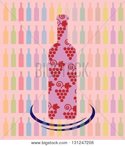 Wine tasting card a bottle with grape sign over a background with pattern of colored bottles. Digital vector image.