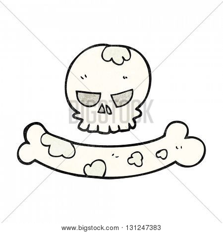 freehand textured cartoon skull and bone symbol