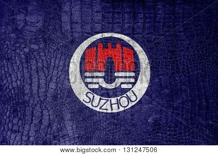 Flag Of Suzhou, China, On A Luxurious, Fashionable Canvas