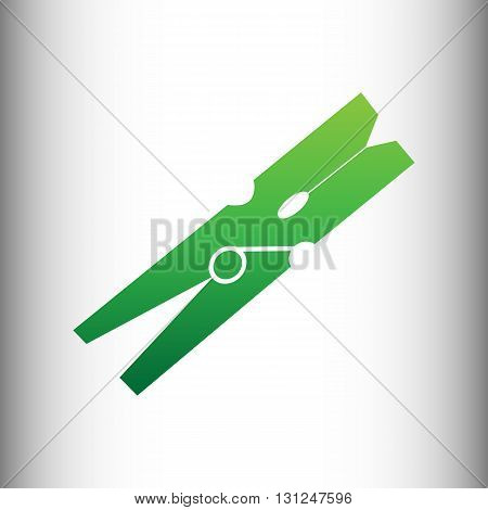 Clothes peg vector icon. Green gradient icon on gray gradient backround.