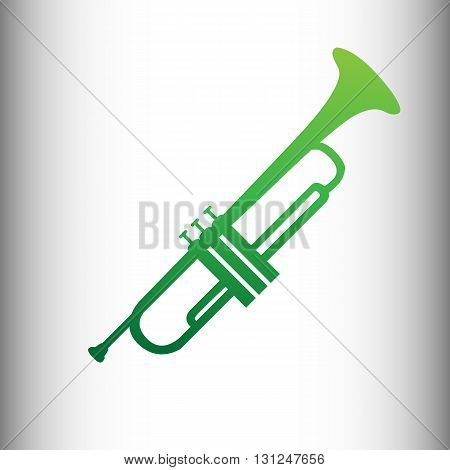 Trumpet vector icon, music signal sign. Green gradient icon on gray gradient backround.