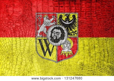 Flag Of Wroclaw With Coat Of Arms, Poland, On A Luxurious, Fashi