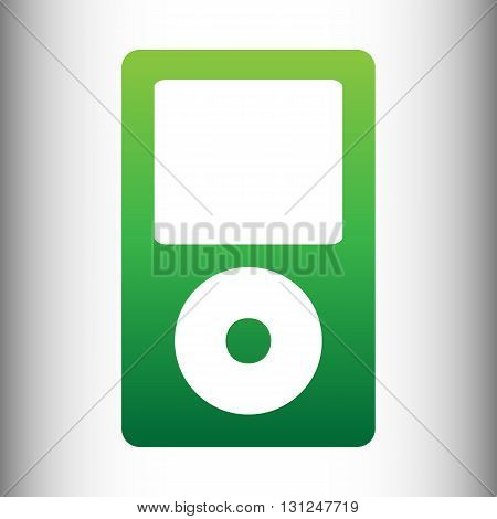 Portable music device. Green gradient icon on gray gradient backround.
