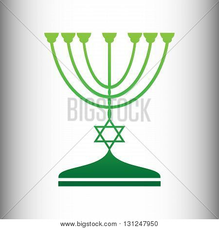 Jewish Menorah candlestick in black silhouette isolated on white background. Green gradient icon on gray gradient backround.