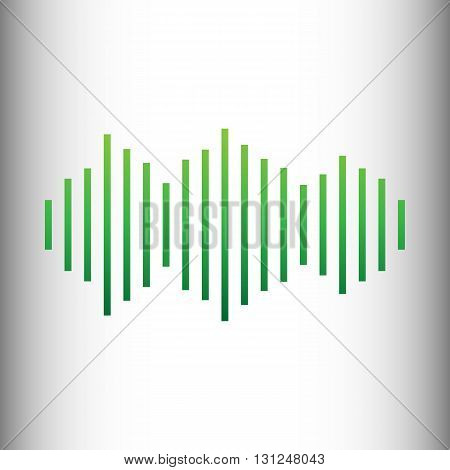 Sound waves icon. Green gradient icon on gray gradient backround.