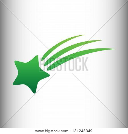 Shooting star icon. Green gradient icon on gray gradient backround.