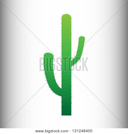 Cactus simple icon. Green gradient icon on gray gradient backround.