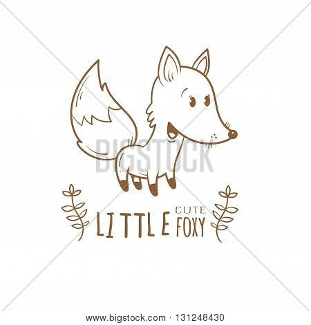 Card with cute cartoon fox. Little funny animal. Children's illustration. Vector contour image. Coloring book. Transparent background.