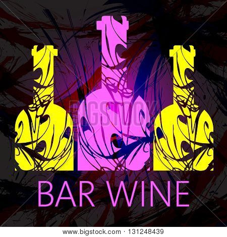 Bar wine and tasting card three pink and yellow bottles over dark water color background. Digital vector image.