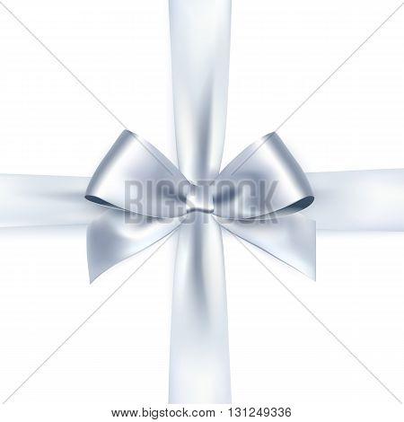 Shiny white satin ribbon on white background. silver bow and ribbon