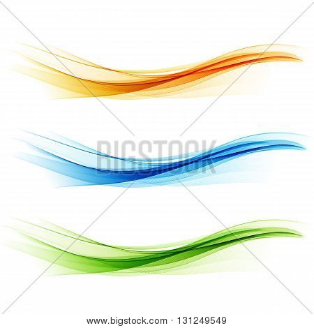 Set Abstract color wave design element. Yellow, blue and green wave