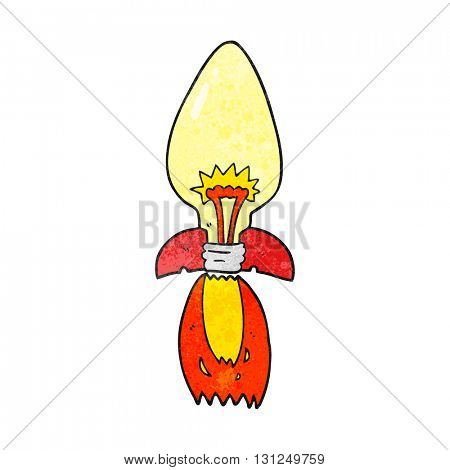 freehand textured cartoon amazing rocket ship of an idea