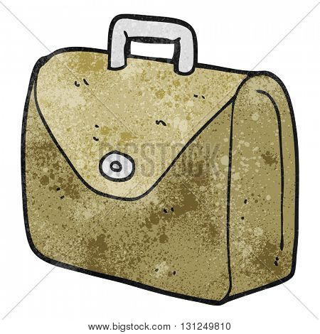freehand textured cartoon old briefcase