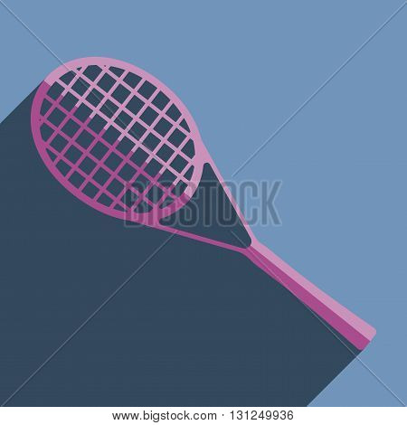 Flat icons with shadow of tennis racket. Vector illustration