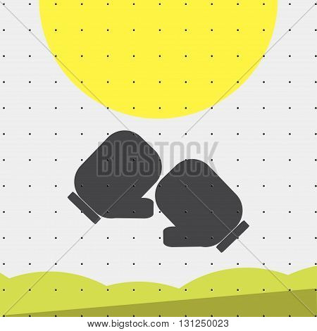 Colorful sports poster-style minimalism flat for commercial websites. Attributes for Boxing gloves Vector illustration