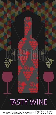 Wine tasting card bottle with red grape sign over black background with colored pattern. Digital vector image.