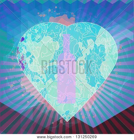 Red wine and tasting card bottle in a heart shape over water color background. Digital vector image.