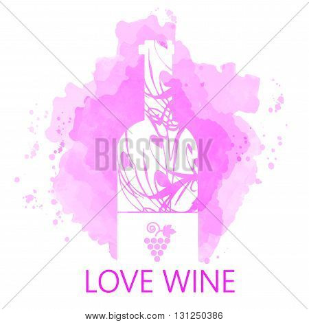 Wine tasting and love card white bottle over purple background with water color. Digital vector image.