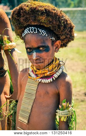 Timid Boy In Papua New Guinea