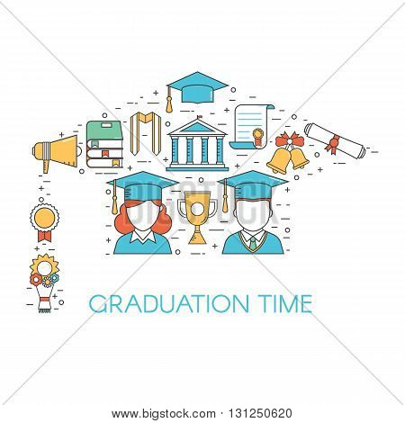 Graduation outline vector set of exam celebration elements. Man and woman graduate in hat celebrating finish education line art concept in graduational cap shape. Educational postcard or invitation.