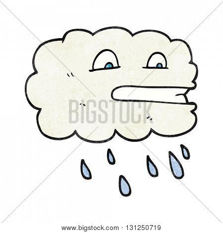 freehand textured cartoon rain cloud