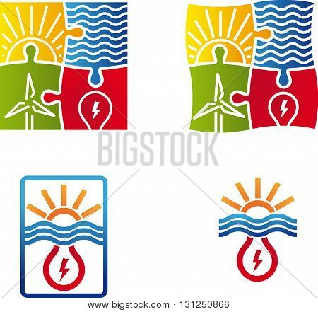 renewable energy puzzle logo set of four