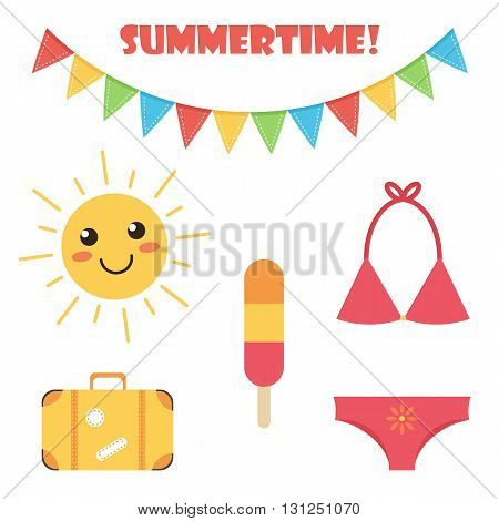 Cute and colorful flat design summer set isolated on white background.