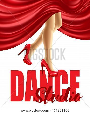 Poster for the dance studio with female legs in red shoes and skirt billowing. Vector illustration EPS10